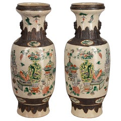 Pair of 19th Century Chinese Crackle-Ware Vases / Lamps
