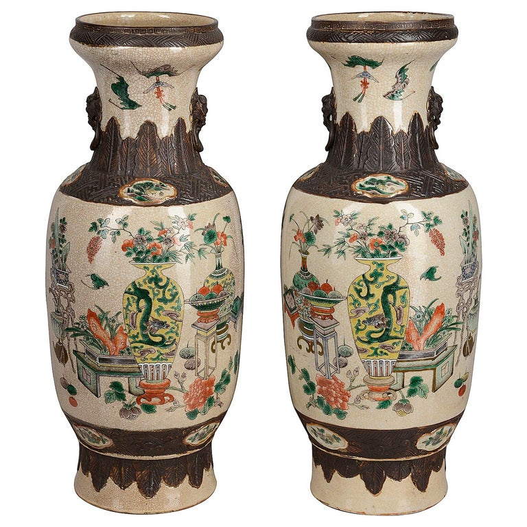 Pair of 19th Century Chinese Crackle-Ware Vases / Lamps For Sale