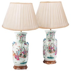 Pair 19th Century Chinese Famille Famille Rose Vases / Lamps