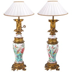 Pair of 19th Century Chinese Famille Rose Vases / Lamps, circa 1880