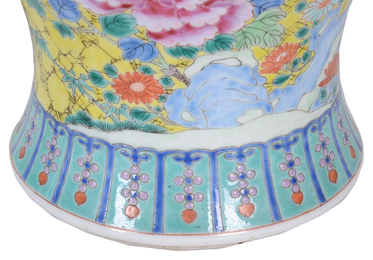 Hand-Painted Pair of 19th Century Chinese Famille Rose Vases / Lamps For Sale