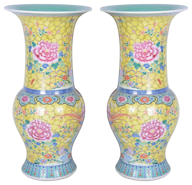 Pair of 19th Century Chinese Famille Rose Vases / Lamps For Sale 1