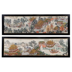 Pair 19th Century Chinese Hand Painted Scrolls of Processions