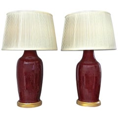 Pair 19th Century Chinese Sang De Boeuf Oxblood Porcelain Table Lamps