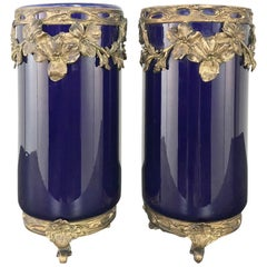 Pair of 19th Century Cobalt Porcelain and Bronze Vases