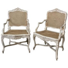 Pair of 19th Century Country French Caned Painted Armchairs