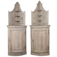 Pair of 19th Century Country French Stripped Oak Corner Cabinets
