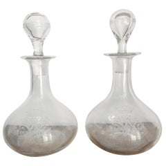 Pair of 19th Century Crystal Carafes/Decanters