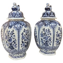 Pair of 19th Century Delft Blue and White Lidded Vases
