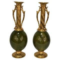 Pair 19th Century Dore Bronze Vase
