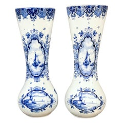 Pair 19th Century Dutch Blue and White Vases