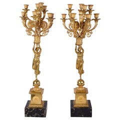 Pair 19th Century Empire Influenced Candelabra