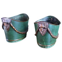 19th Century Empire Tole Painted Green & Bronze Jardinières Urns Cachepot, Pair