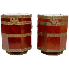Pair 19th Century English Brass Mounted Lidded Tables