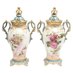 19th Century English Covered Vases, Vibrant Turquoise, Exquisitely Crafted, Pair