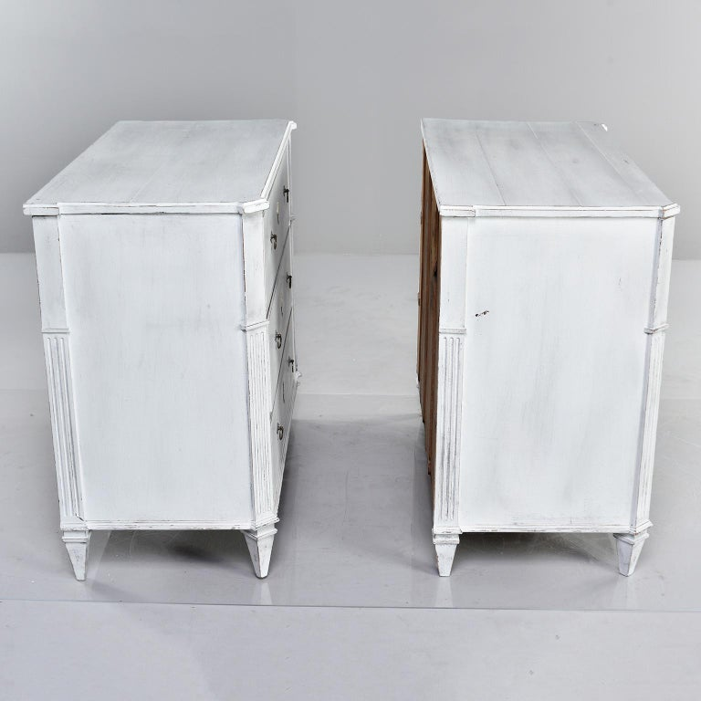 Painted Pair of 19th Century English Pine Chests with New Paint For Sale