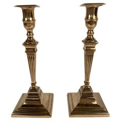 Pair 19th Century English Regency Brass Candlesticks