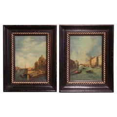 Pair 19th Century Framed Oil on Canvas Venetian Scene Painting Signed Zanetti