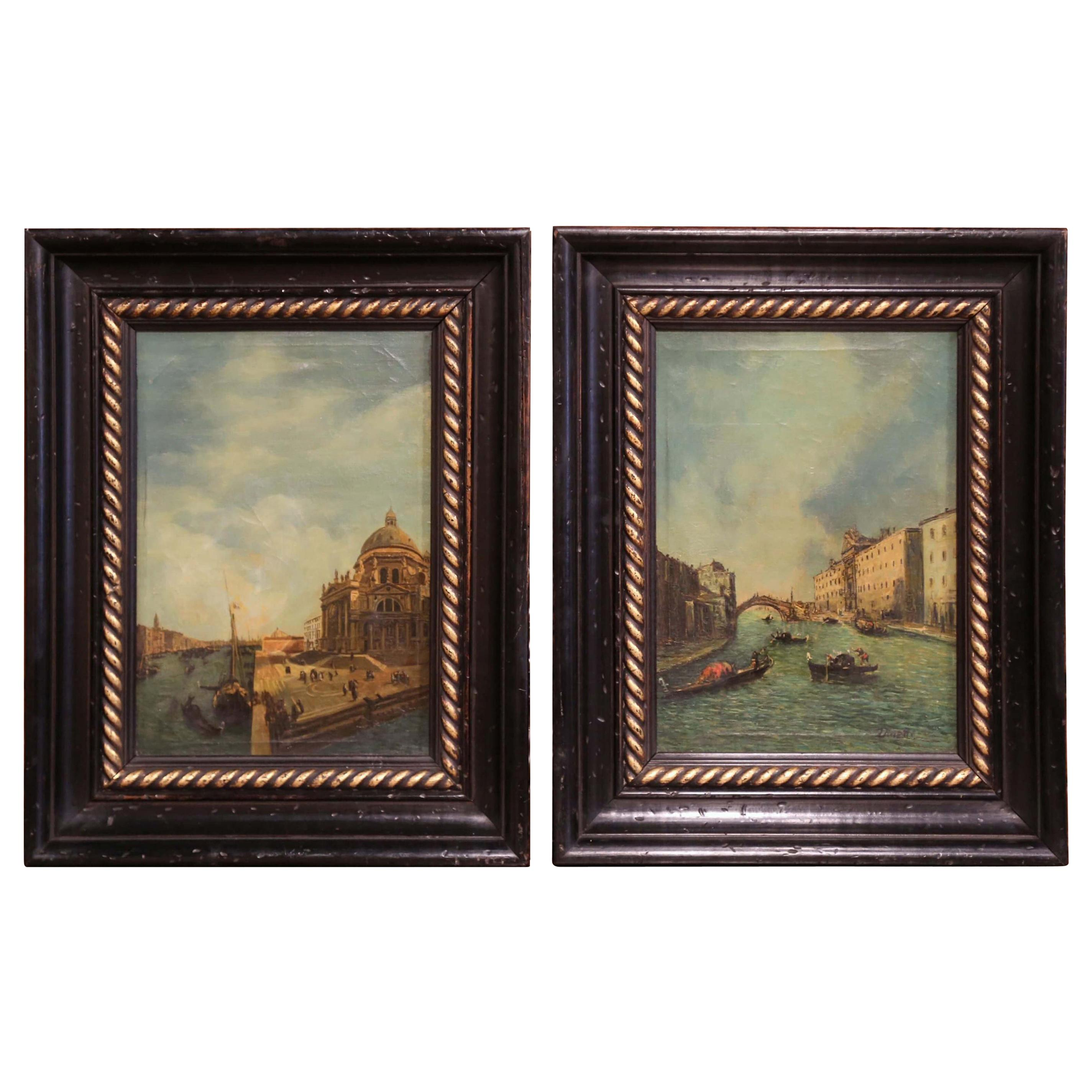 Pair of 19th Century Framed Oil on Canvas Venetian Scene Painting Signed Zanetti