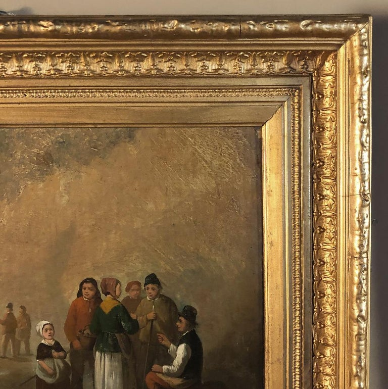 Pair of 19th Century Framed Oil Paintings on Board, French School For Sale 7