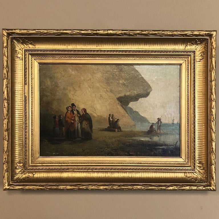 Pair of 19th century framed oil paintings on board ~ French School This amazing pair of paintings depict various activities of a seaside community in what appears to be a section of the Brittany coast. The artist, although remaining anonymous, has