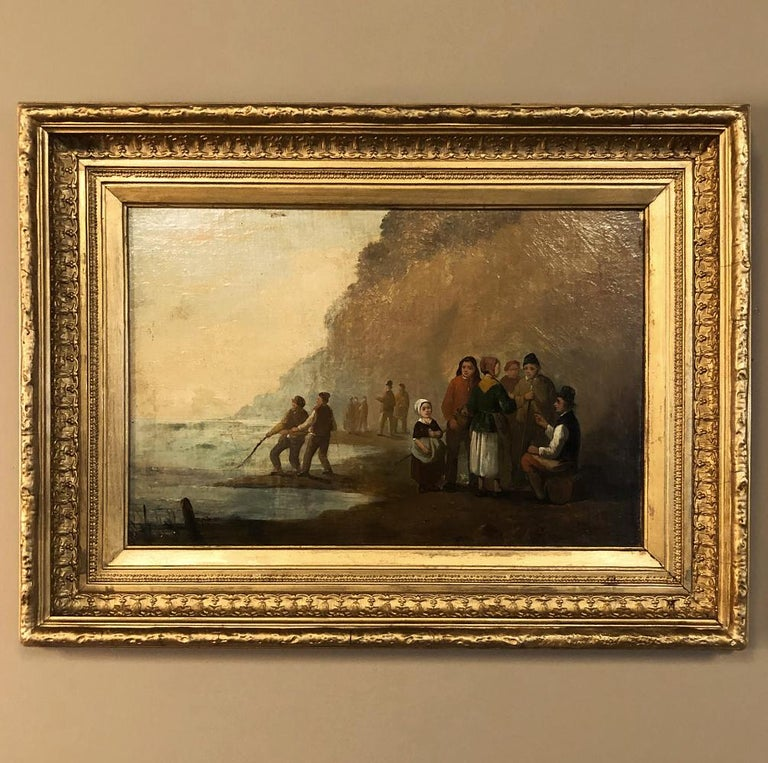 Belle Époque Pair of 19th Century Framed Oil Paintings on Board, French School For Sale