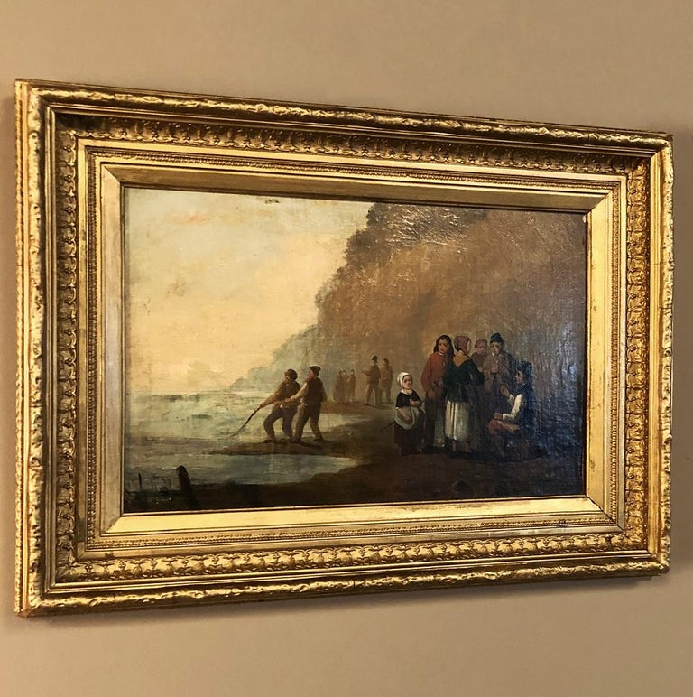 Hand-Painted Pair of 19th Century Framed Oil Paintings on Board, French School For Sale