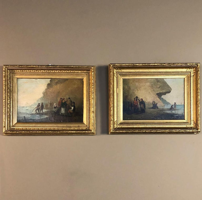 Wood Pair of 19th Century Framed Oil Paintings on Board, French School For Sale