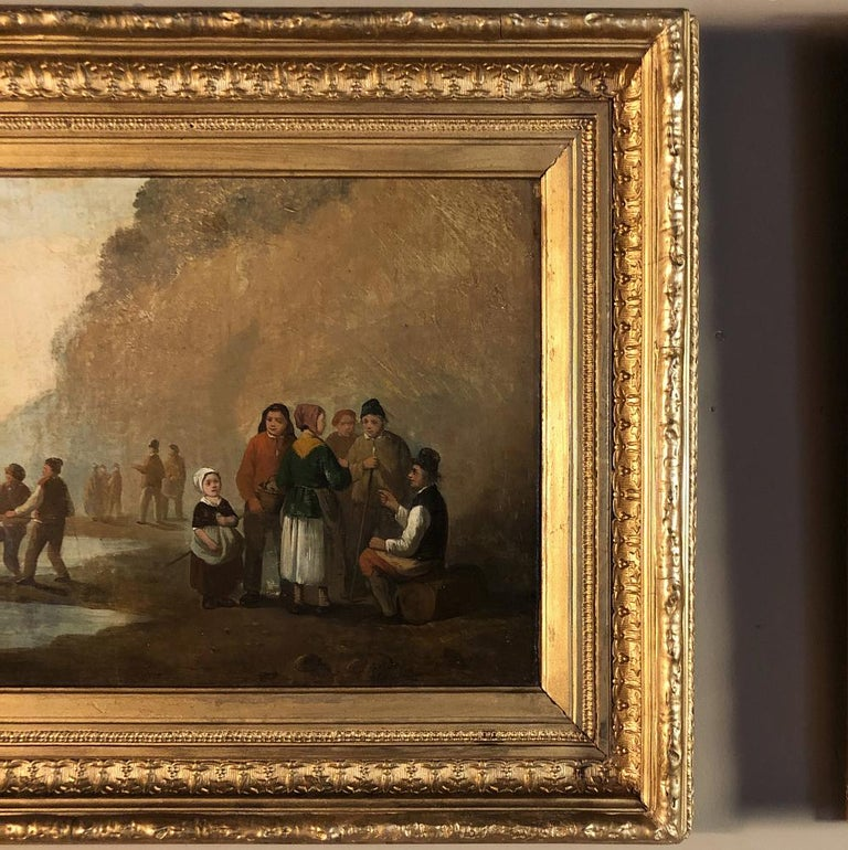 Pair of 19th Century Framed Oil Paintings on Board, French School For Sale 2