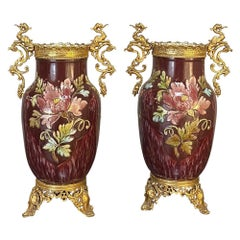 Pair of 19th Century French Barbotine Vases with Bronze Mounts