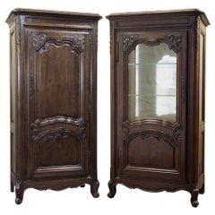 Pair 19th Century French Bonnetiere & Vitrine