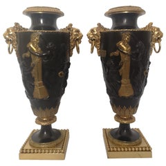 Pair of 19th Century French Classical Bronze Vases