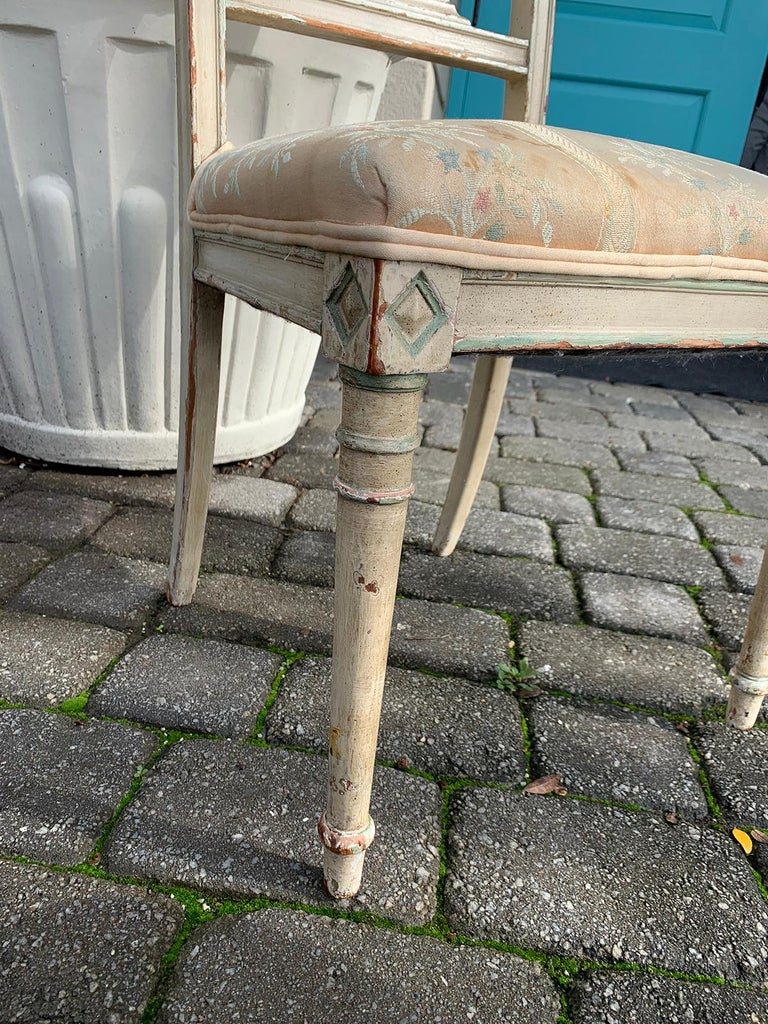 Pair of 19th Century French Directoire Style Painted Side Chairs For Sale 7