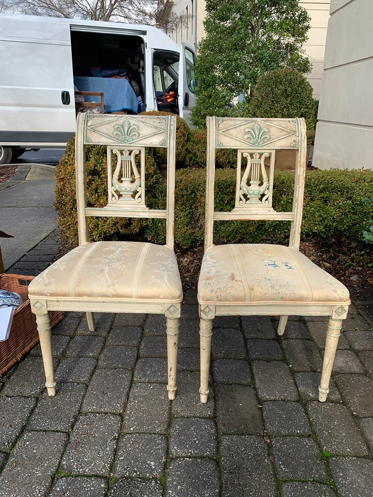 Pair of 19th Century French Directoire Style Painted Side Chairs In Good Condition For Sale In Atlanta, GA