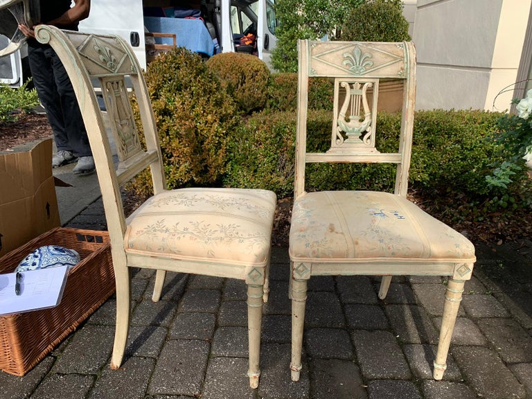 Wood Pair of 19th Century French Directoire Style Painted Side Chairs For Sale