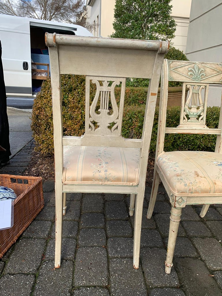 Pair of 19th Century French Directoire Style Painted Side Chairs For Sale 1