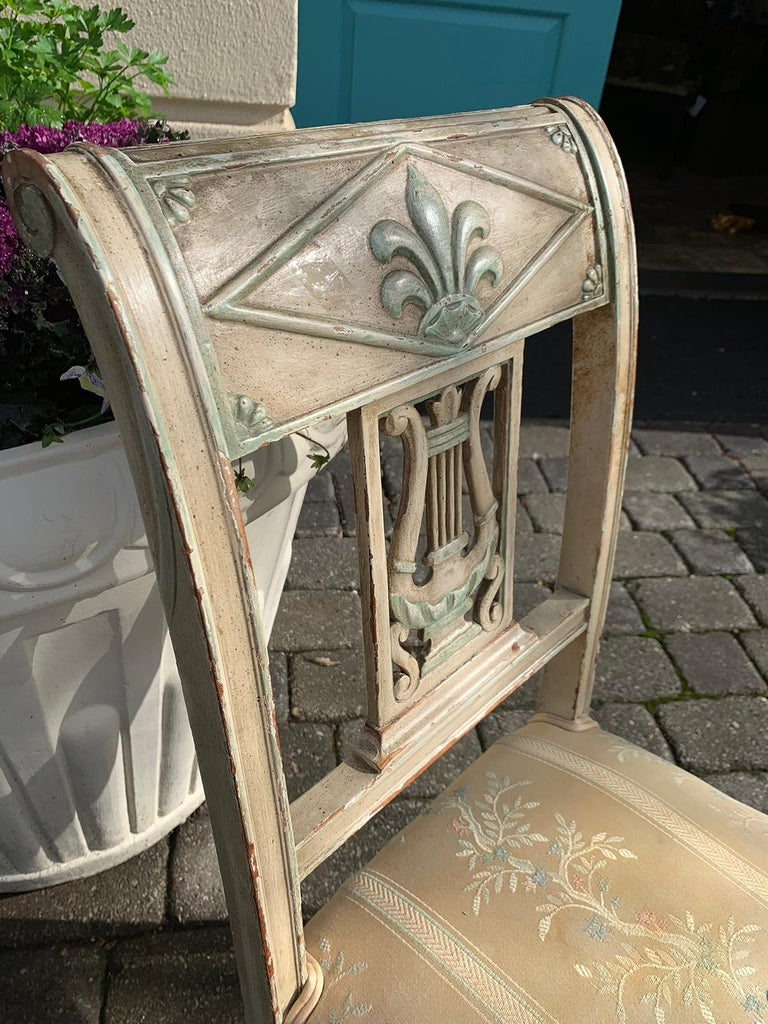 Pair of 19th Century French Directoire Style Painted Side Chairs For Sale 2