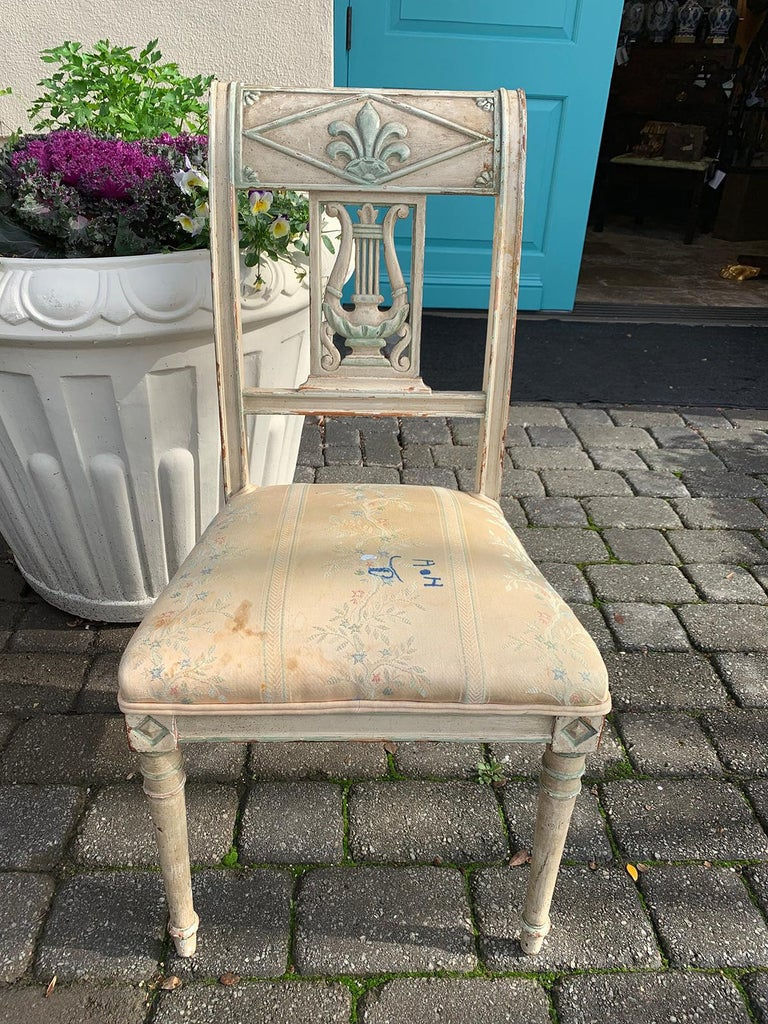 Pair of 19th Century French Directoire Style Painted Side Chairs For Sale 3