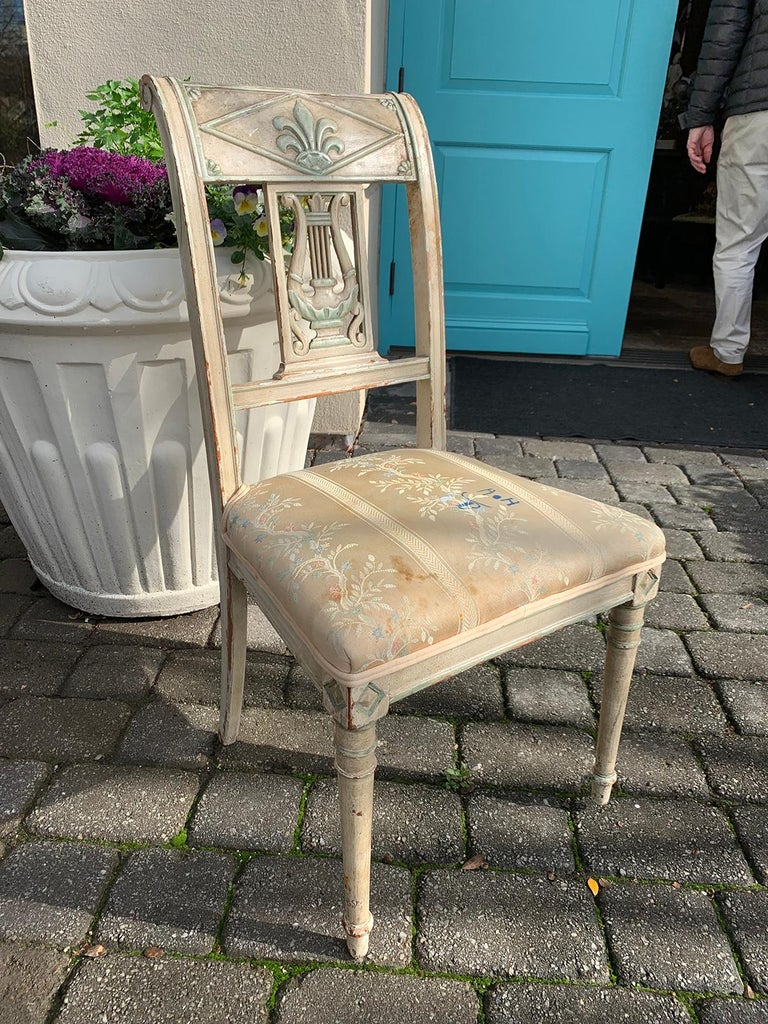 Pair of 19th Century French Directoire Style Painted Side Chairs For Sale 4