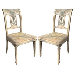 Pair of 19th Century French Directoire Style Painted Side Chairs