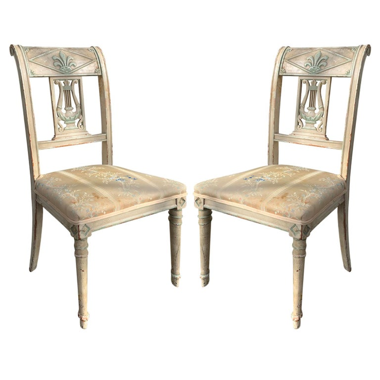 Pair of 19th Century French Directoire Style Painted Side Chairs For Sale
