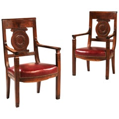 19th Century French Empire Mahogany Brown Wood Fauteuils or Armchairs Red, Pair
