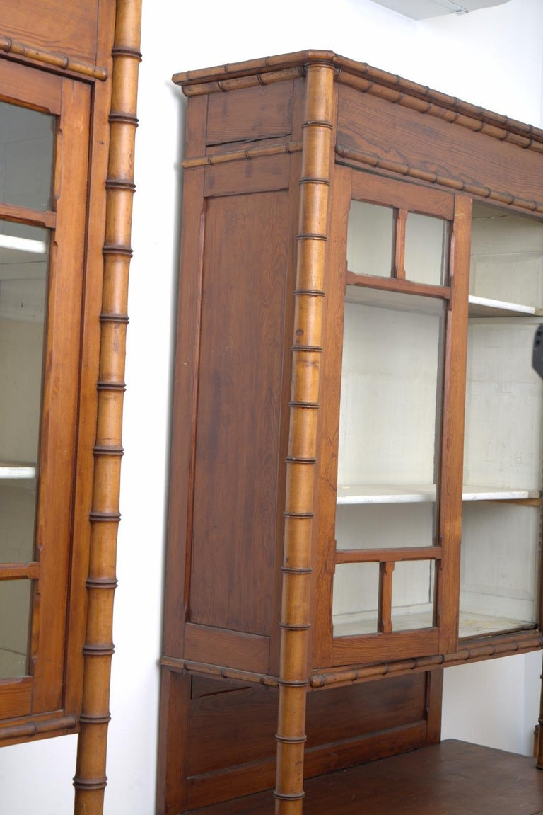 Late Victorian Pair of 19th Century French Faux Bamboo Large Cabinets For Sale
