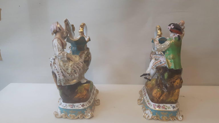 Neoclassical Pair of 19th Century French Figurines by Jacob Petit For Sale