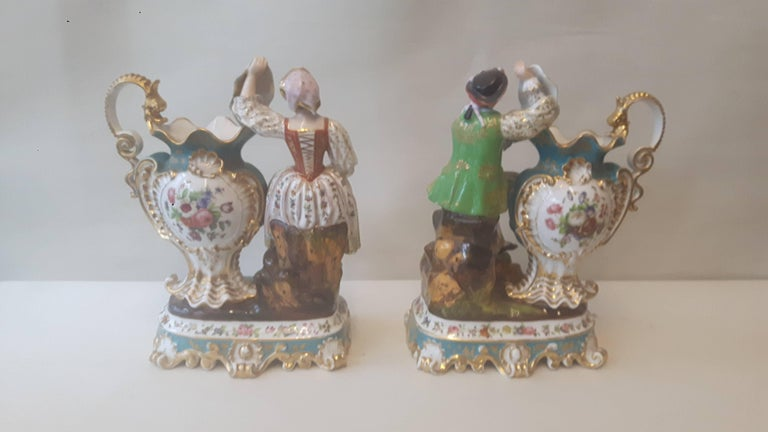 Glazed Pair of 19th Century French Figurines by Jacob Petit For Sale