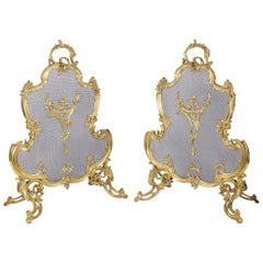 Pair 19th Century French Gilded Fire Screens