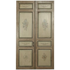 Pair of 19th Century French Hand Painted Paneled Interior Doors
