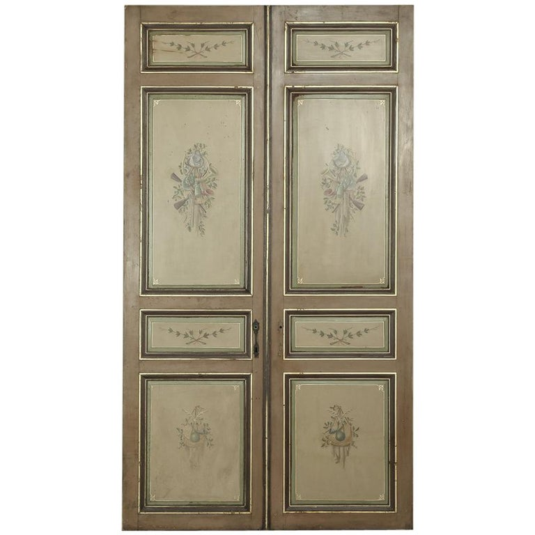 Pair of 19th Century French Hand Painted Paneled Interior Doors For Sale