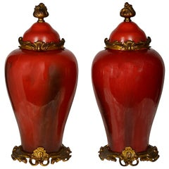 Pair of 19th Century French Lidded Vases in the Chinese Style