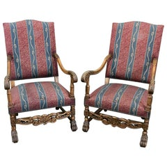 Pair 19th Century French Louis XIII Armchairs